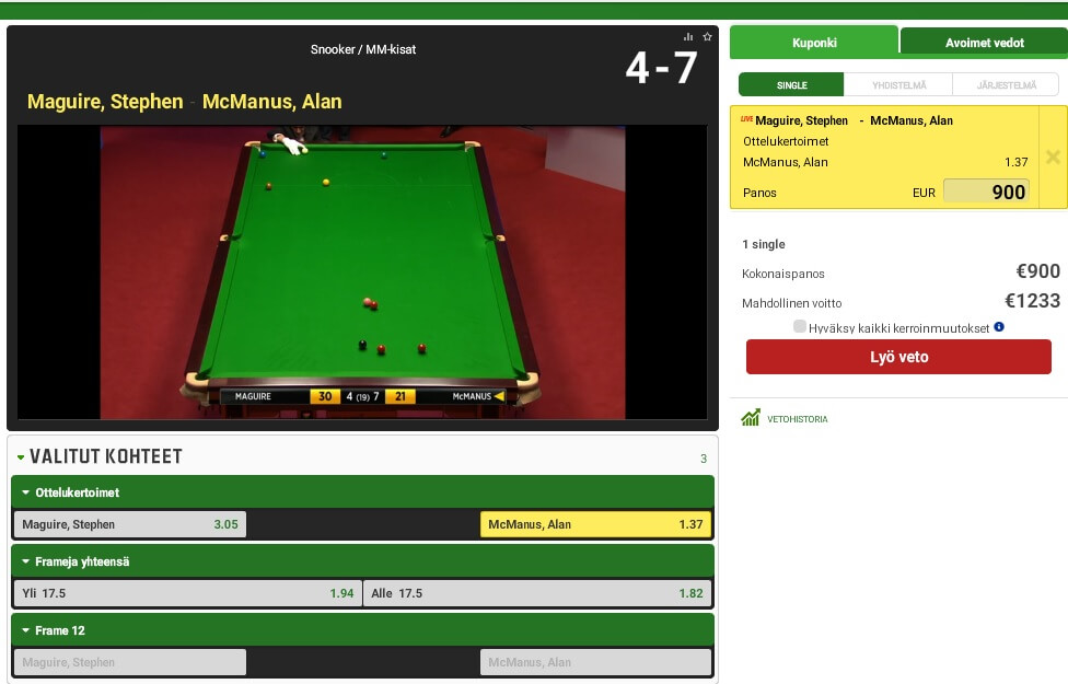 snooker livestream